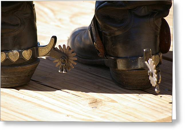 Boots Digital Art Greeting Cards - Silver Spurs Greeting Card by Paula Strahan