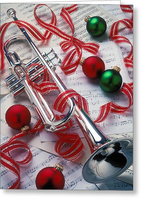 Horns Greeting Cards - Silver trumper and Christmas ornaments Greeting Card by Garry Gay