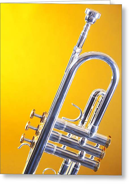 Silver Trumpet Isolated On Yellow Greeting Card by M K  Miller