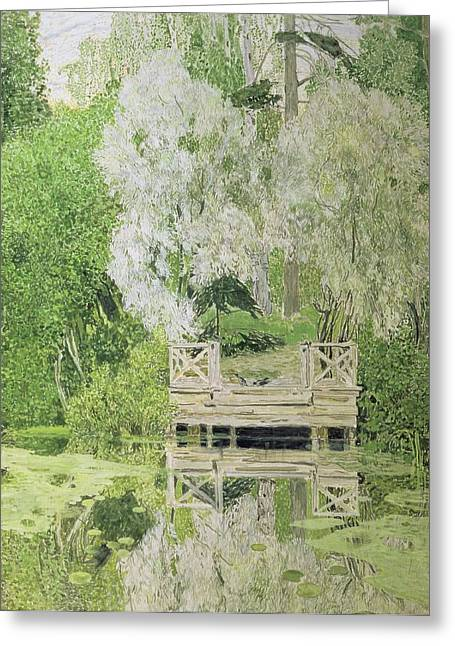 Woodland Scenes Paintings Greeting Cards - Silver White Willow Greeting Card by Aleksandr Jakovlevic Golovin