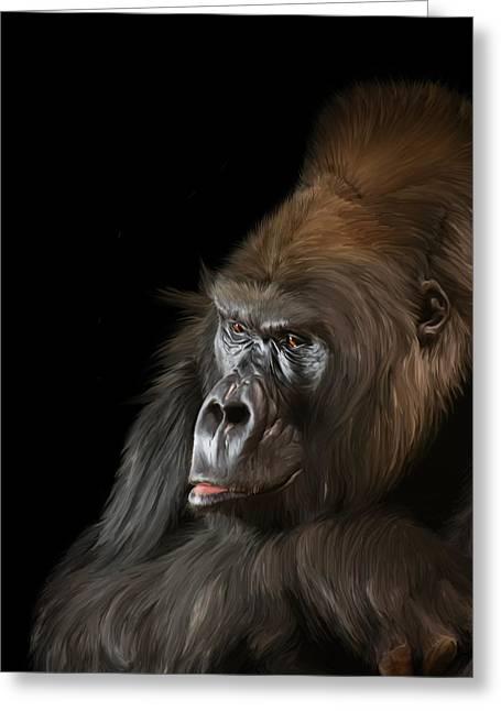 Forest Dweller Greeting Cards - Silverback Western Gorilla Greeting Card by Jay Lethbridge