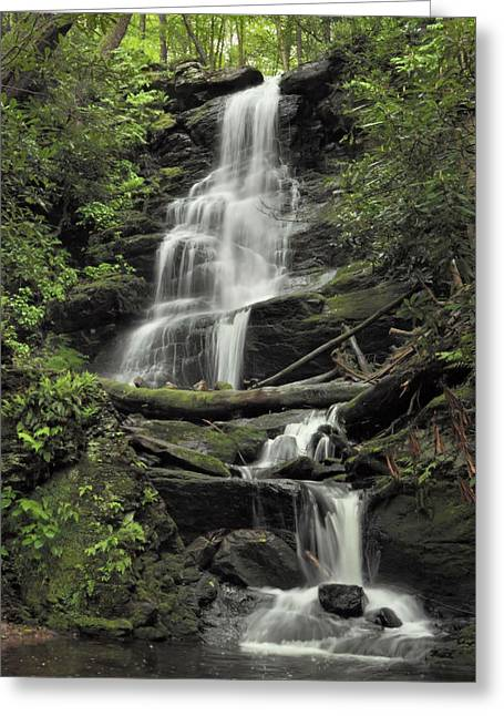 Stokes State Forest Greeting Cards - Silverspray Falls Greeting Card by Stephen  Vecchiotti
