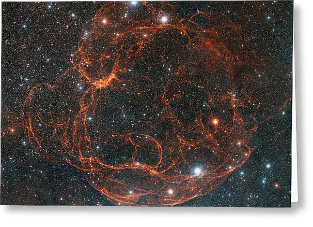 Stellar Remnant Greeting Cards - Simeis 147 Supernova Remnant Greeting Card by Davide De Martin