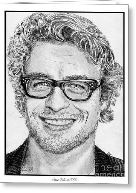 Movie Art Greeting Cards - Simon Baker in 2005 Greeting Card by J McCombie
