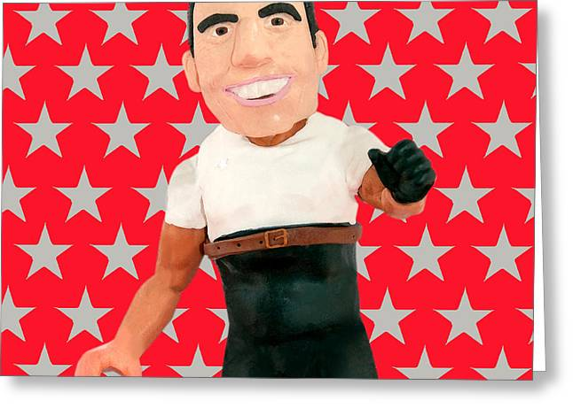 Judge Sculptures Greeting Cards - Simon Cowell Greeting Card by Louisa Houchen