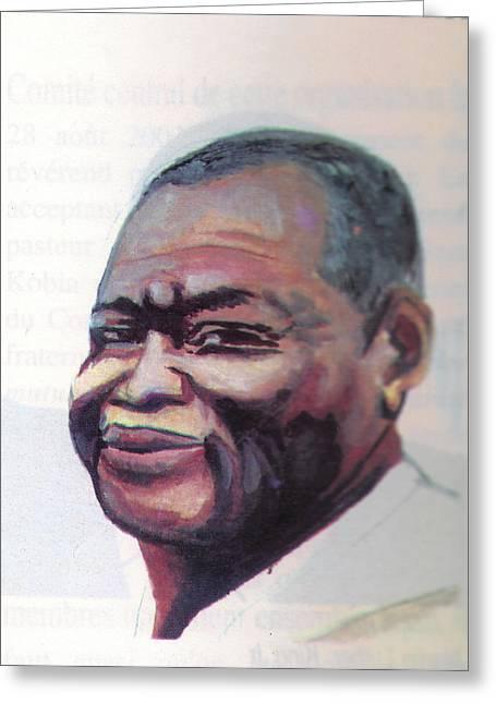 Miraculous Drawings Greeting Cards - Simon Kimbangu Greeting Card by Emmanuel Baliyanga