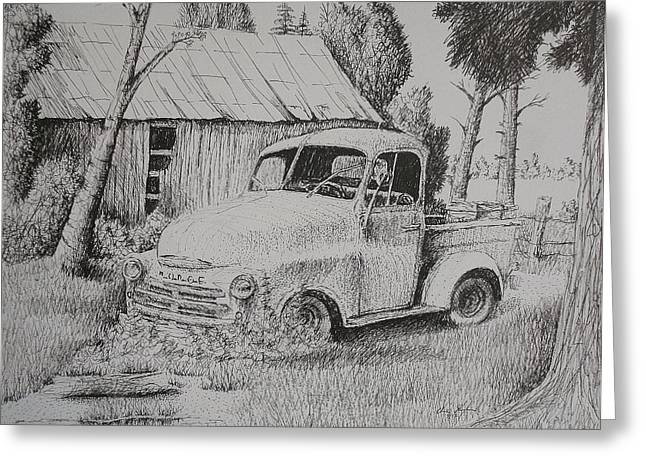 Barn Pen And Ink Greeting Cards - Simple Times Greeting Card by Chris Shepherd