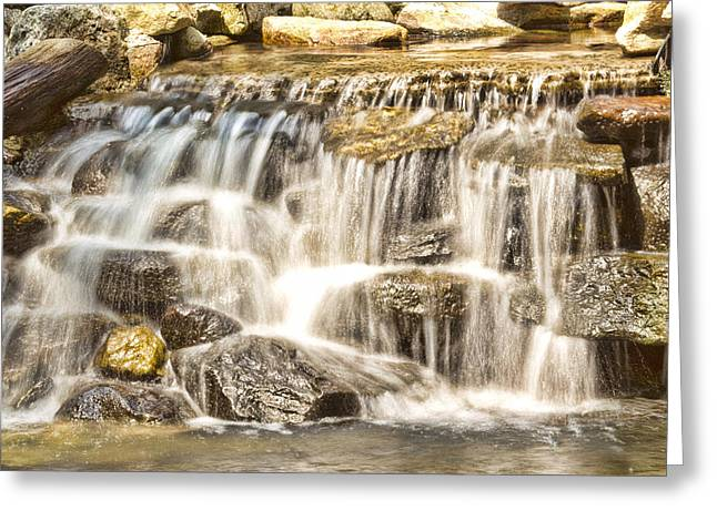 Nature Center Pond Greeting Cards - Simple Yet Powerful Waterfall Greeting Card by Daphne Sampson