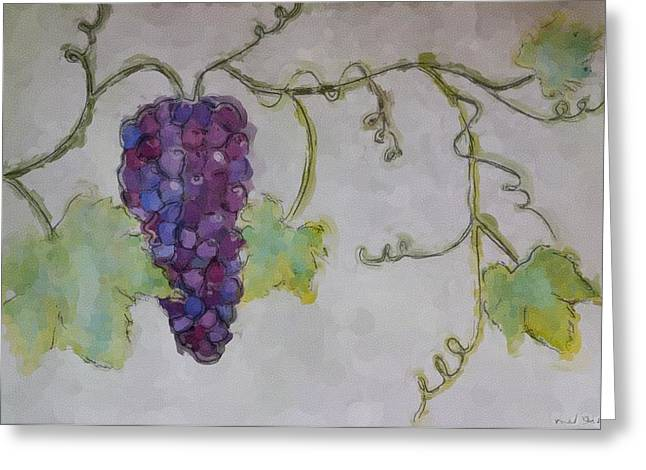 Grapevines Paintings Greeting Cards - Simply Grape Greeting Card by Heidi Smith