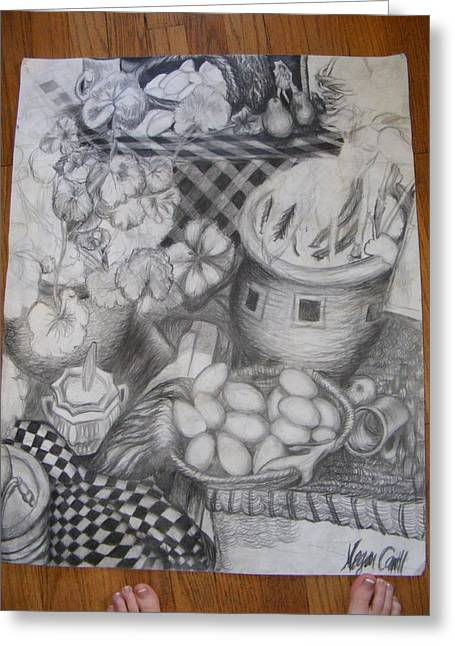 Table Cloth Drawings Greeting Cards - Simulated Still life Greeting Card by Megan Canell  Downing