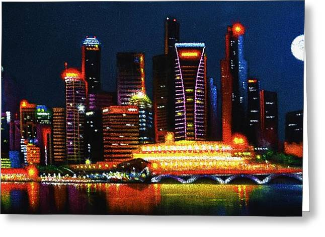 Recently Sold -  - Dream Scape Greeting Cards - Singapore Aglow Greeting Card by Thomas Kolendra