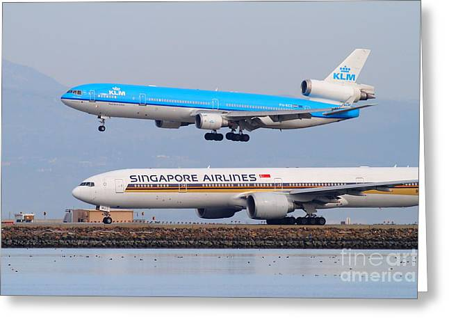 Airplane Landing Greeting Cards - Singapore Airlines And KLM Airlines Jet Airplane At San Francisco International Airport SFO 7D12153 Greeting Card by Wingsdomain Art and Photography