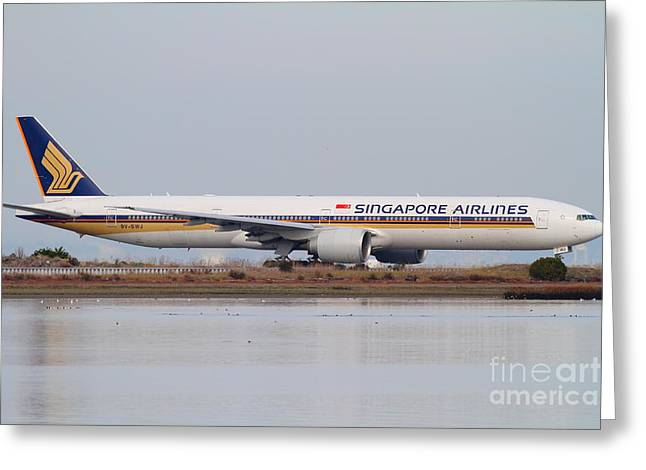 Airplane Landing Greeting Cards - Singapore Airlines Jet Airplane At San Francisco International Airport SFO . 7D12142 Greeting Card by Wingsdomain Art and Photography