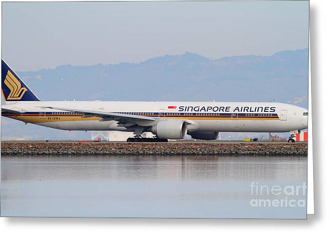 Airplane Landing Greeting Cards - Singapore Airlines Jet Airplane At San Francisco International Airport SFO . 7D12145 Greeting Card by Wingsdomain Art and Photography