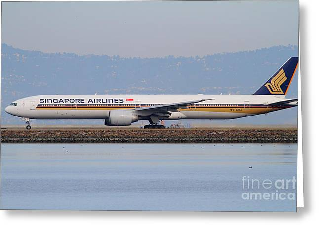 Airplane Landing Greeting Cards - Singapore Airlines Jet Airplane At San Francisco International Airport SFO . 7D12163 Greeting Card by Wingsdomain Art and Photography