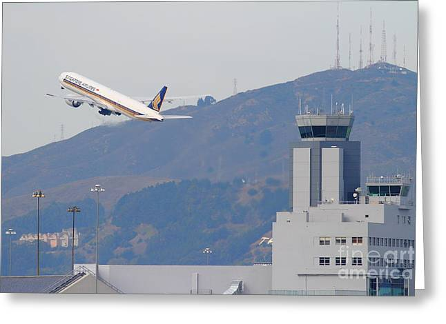 Airplane Landing Greeting Cards - Singapore Airlines Jet Airplane Over The San Francisco International Airport SFO Air Control Tower Greeting Card by Wingsdomain Art and Photography