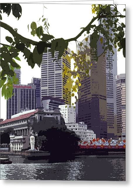 Asien Photographs Greeting Cards - Singapore ... The Lion City  Greeting Card by Juergen Weiss