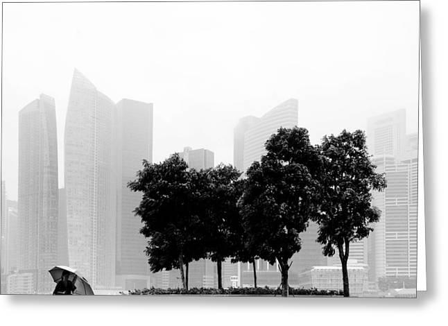 Rain Greeting Cards - Singapore Umbrella Greeting Card by Nina Papiorek