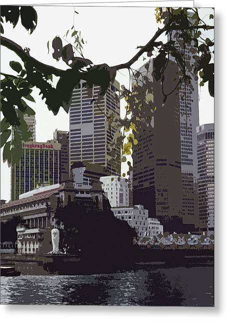 Asien Photographs Greeting Cards - Singapores Merlion Greeting Card by Juergen Weiss