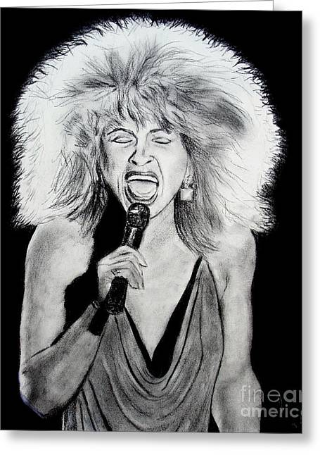 African-american Drawings Greeting Cards - Singer and Actress Tina Turner  Greeting Card by Jim Fitzpatrick