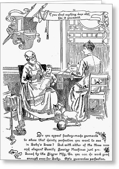 Singer Sewing Machine Ad Greeting Card by Granger