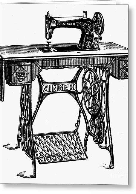 19th Century America Greeting Cards - Singer Sewing Machine Greeting Card by Granger