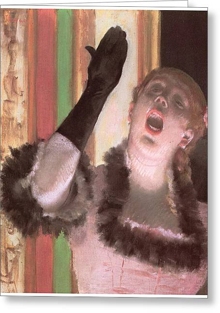 Glove Pastels Greeting Cards - Singer with a Glove Greeting Card by Edgar Degas