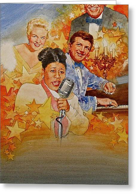 Liberace Greeting Cards - Singers Greeting Card by Cliff Spohn