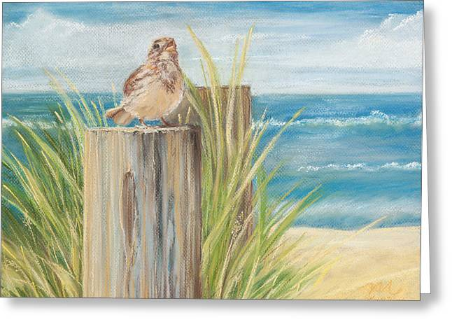 Beach Landscape Pastels Greeting Cards - Singing Greeter at the Beach Greeting Card by Michelle Wiarda