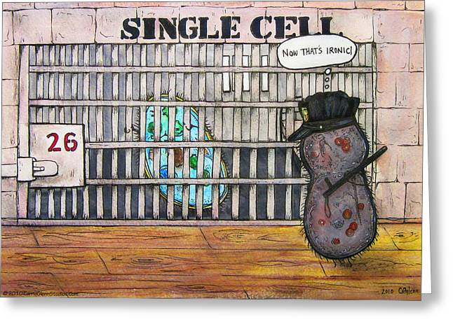 Single-celled Drawings Greeting Cards - Single Cell Greeting Card by Carrie Jackson