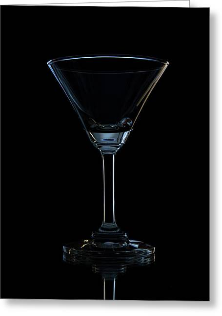 Close Up Glass Art Greeting Cards - Single Empty Wine Glass Greeting Card by Kobchai Sukruean