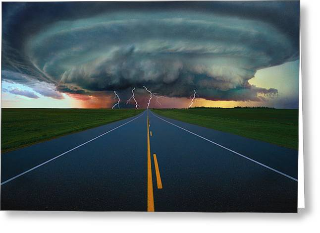 Lightning Bolt Greeting Cards - Single Lane Road Leading To Storm Cloud Greeting Card by Don Hammond