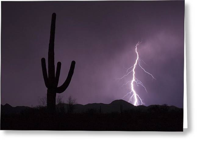 Arizona Lightning Greeting Cards - Single Lightning Bolt Strikes Greeting Card by Mike Theiss