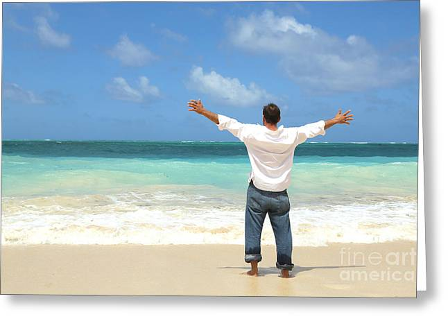 Caucasion Greeting Cards - Single Male Standing On Beach Facing Ocean Open Arms Greeting Card by Brian Akamine