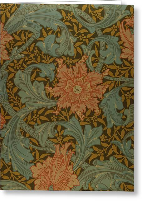 Flower Tapestries - Textiles Greeting Cards - Single Stem wallpaper design Greeting Card by William Morris
