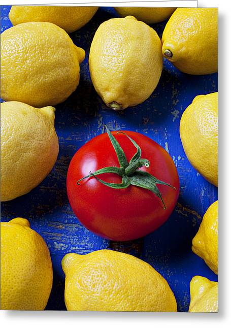 Single Photographs Greeting Cards - Single tomato with lemons Greeting Card by Garry Gay