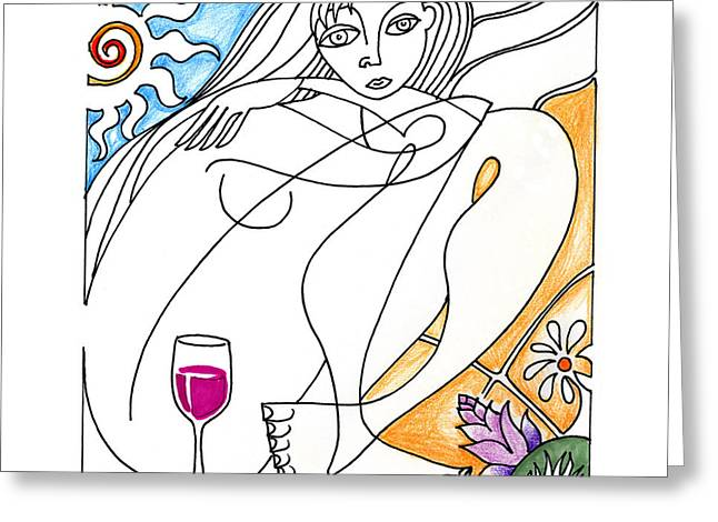 Pinot Drawings Greeting Cards - Single Varietal Greeting Card by Roy Guzman