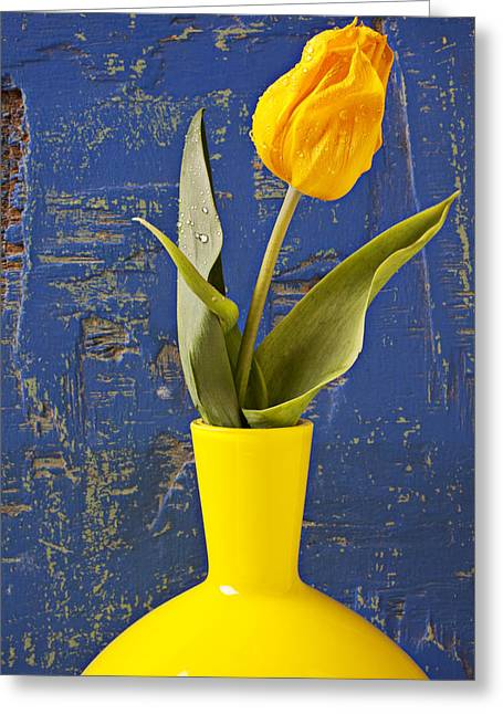 Yellow Leaves Greeting Cards - Single yellow tulip in yellow vase Greeting Card by Garry Gay