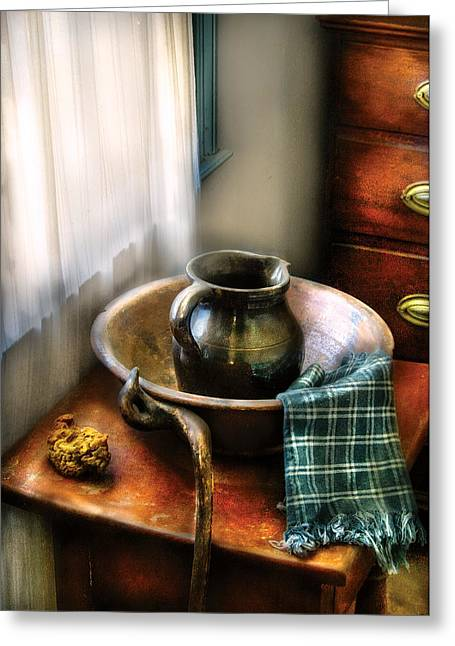 Customizable Greeting Cards - Sink - A Wash Basin  Greeting Card by Mike Savad