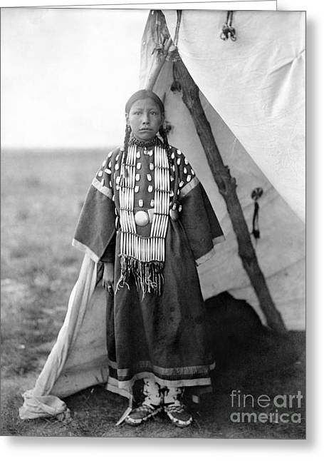 Lame Greeting Cards - SIOUX GIRL, c1905 Greeting Card by Granger