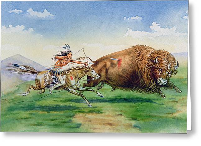 Tribe Greeting Cards - Sioux Hunting Buffalo on Decorated Pony Greeting Card by American School