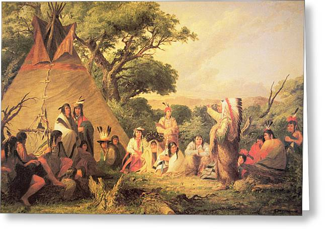 Native American Dwellings Greeting Cards - Sioux Indian Council Greeting Card by Captain Seth Eastman