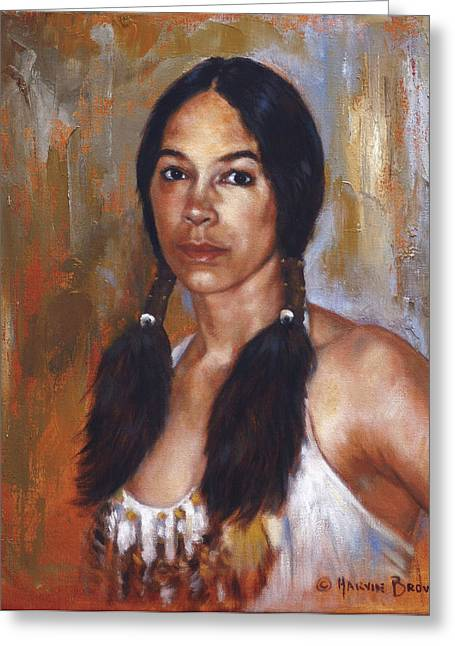 Sioux Greeting Cards - Sioux Woman Greeting Card by Harvie Brown