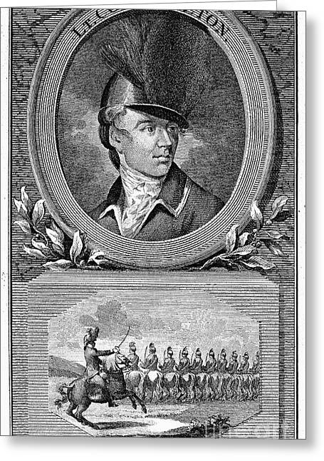 1782 Greeting Cards - SIR BANASTRE TARLETON (1754-1833). English soldier. Copper engraving, English, 1782, with inset of Tarleton and his Legion Greeting Card by Granger