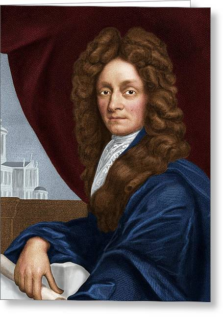 Great Architect Greeting Cards - Sir Christopher Wren, English Architect Greeting Card by Maria Platt-evans