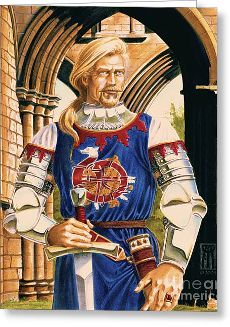 Camelot Mixed Media Greeting Cards - Sir Dinadan Greeting Card by Melissa A Benson