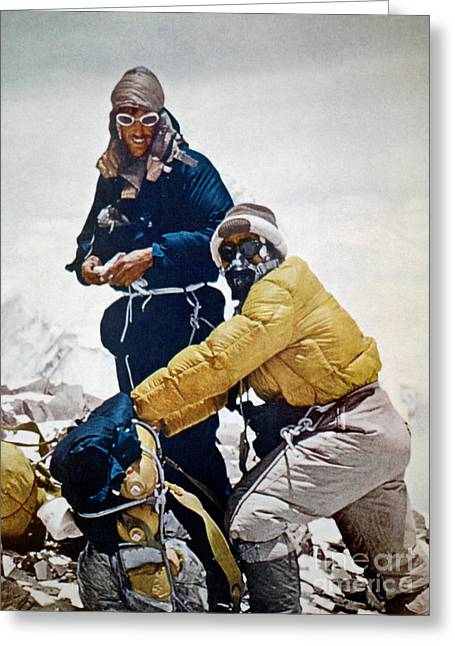 Snow-coated Greeting Cards - Sir Edmund Hillary Greeting Card by Granger