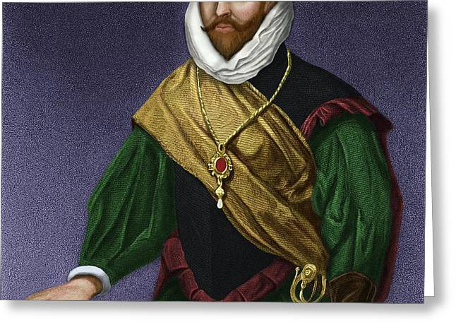 Sir Francis Drake, English Explorer Greeting Card by Maria Platt-evans