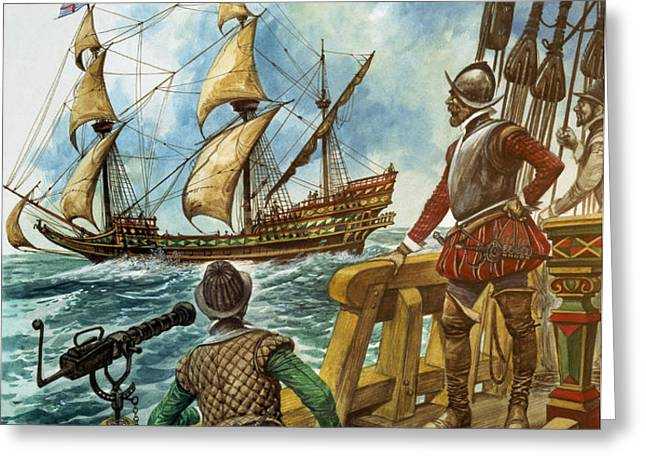 Sir Francis Drake Greeting Card by Peter Jackson