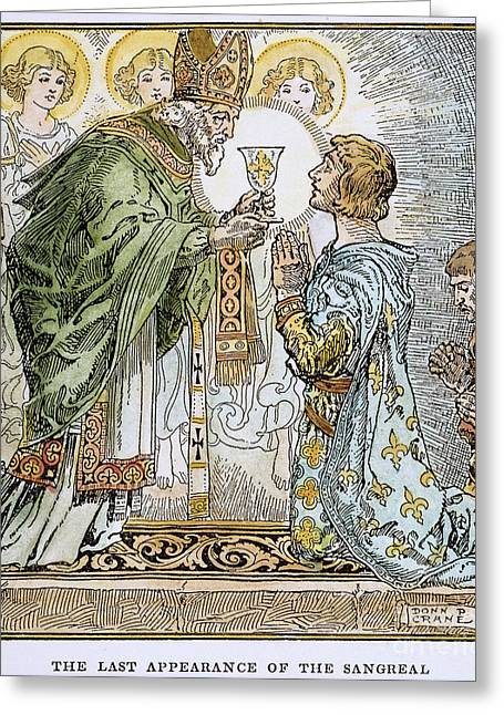 Grail Greeting Cards - Sir Galahad & Holy Grail Greeting Card by Granger